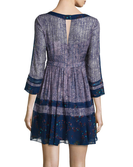 3/4-Sleeve Silk Static-Print Flare-Hem Dress, Dewberry