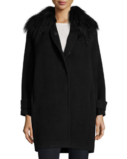 Fur-Trim Wool Coat, Black