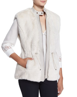 Faux-Fur Leather-Trim Drawstring Vest, Polar Bear White