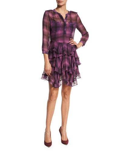 Long-Sleeve Plaid Ruffle Dress, Berry