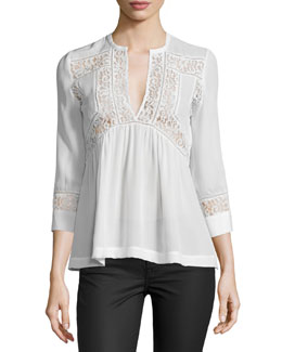 3/4-Sleeve Silk & Lace Top, Snow