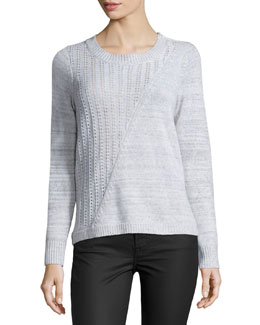 Mixed-Knit Pullover Sweater, Snow