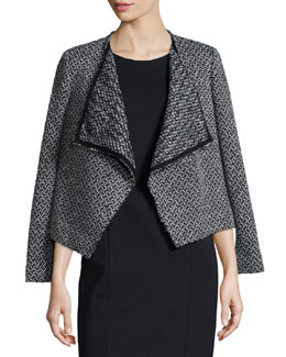 Tweed Draped-Front Jacket, Black/White