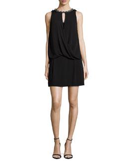 Sleeveless Rhinestone-Trim Silk Dress, Black
