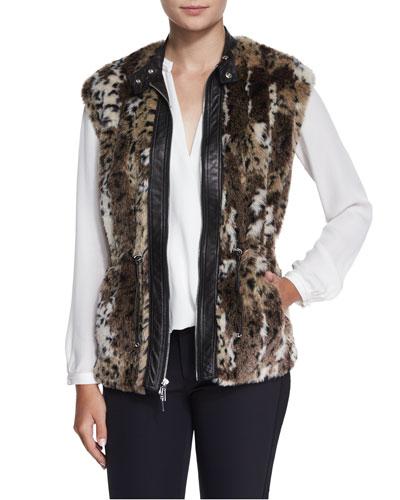 Faux-Fur Leopard-Print Vest, Brown