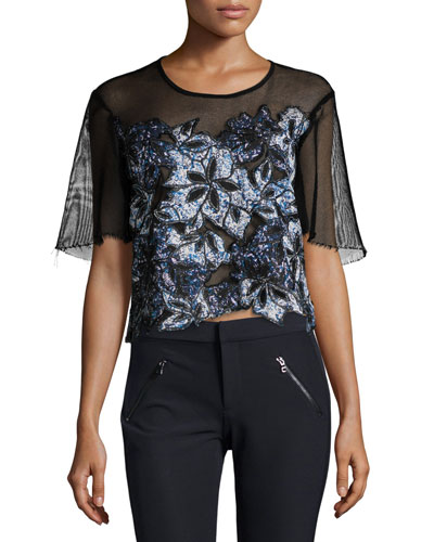 Short-Sleeve Embroidered Mesh Top, Black