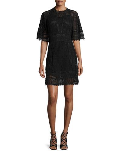 Short-Sleeve Guipure-Lace Mini Dress, Black