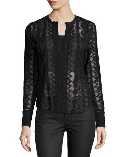 Long-Sleeve Embroidered Silk Top, Black