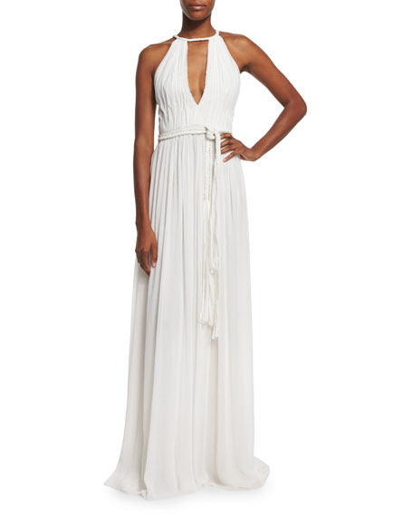 Nomi Sleeveless Pleated Maxi Dress, White