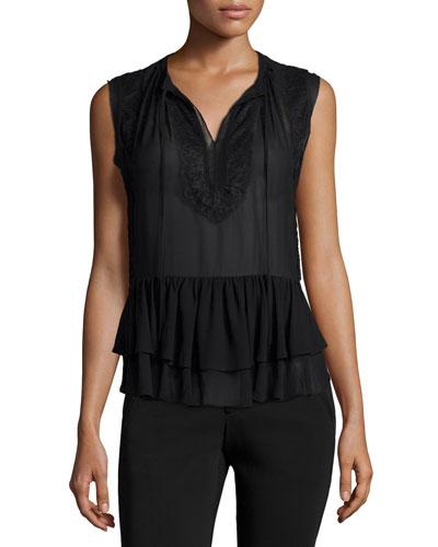 Sleeveless Lace-Trim Silk Top, Black