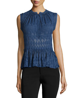 Geometric Silk-Blend Top, Midnight Blue