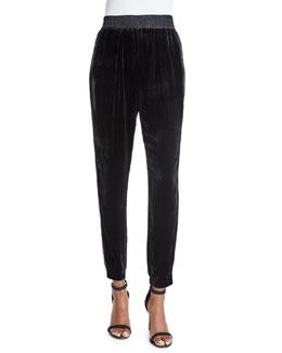 Velvet Slim-Fit Pants, Black