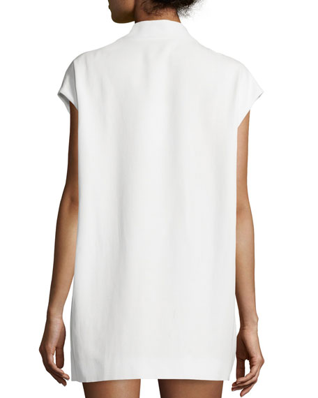 Leano Open-Front Crepe Vest, Ecru