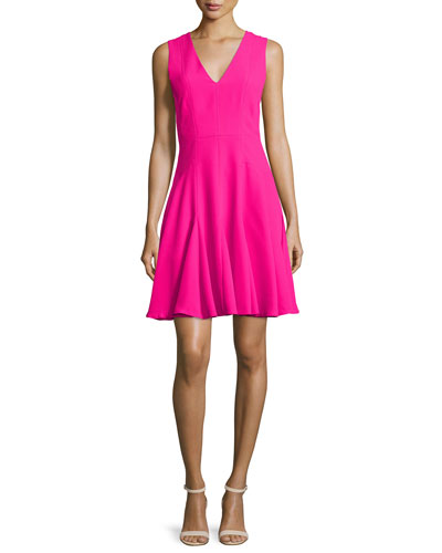 Sleeveless Crepe A-Line Dress, Orchid Pink