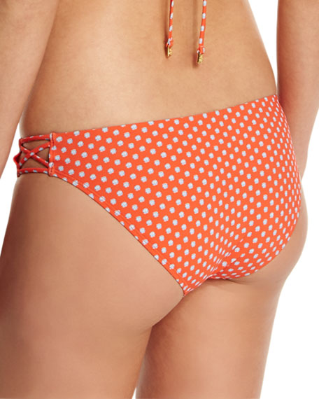 Myra Dot-Print Strappy Swim Bottom, Poppy Red Mali