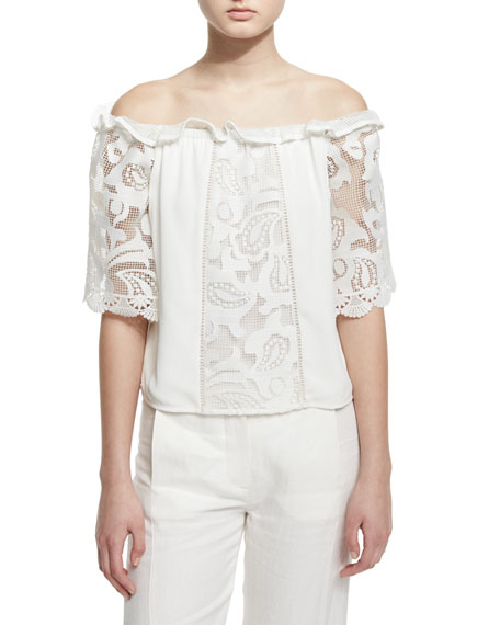 Hee Paneled Macrame Off-the-Shoulder Top, White