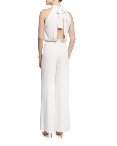 Sang Sleeveless Draped Jumpsuit, White