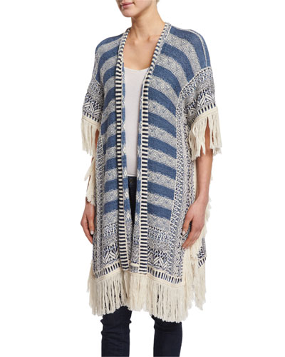Brysiss Fringe-Trim Sweater, Blue Pattern