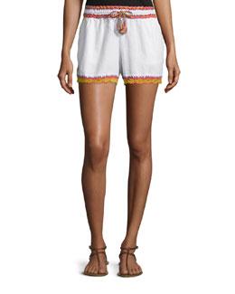 Aldea Drawstring-Waist Linen Shorts, White