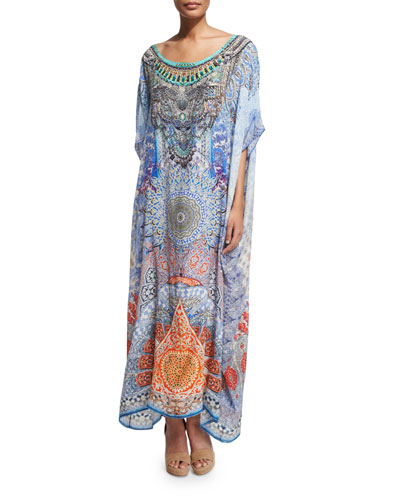 3/4-Sleeve Embellished Caftan Maxi Dress
