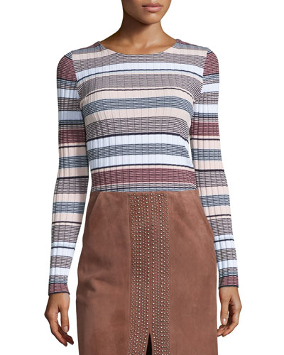 Long Sleeve Striped Pullover, Pink/Multi