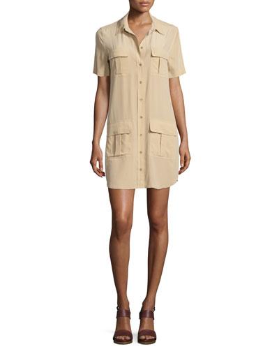 Remy Button-Front Utility Dress, Khaki