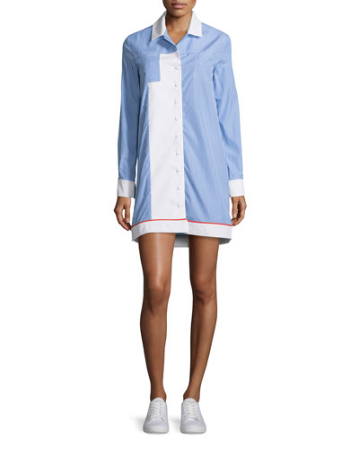Long-Sleeve Striped Poplin Shirtdress, Blanc/Blue