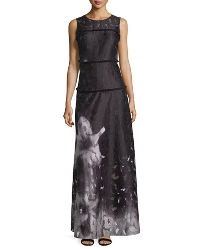 Leona Floral Degrade Maxi Dress, Black