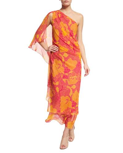 Nori Flower Power Silk Maxi Dress, Fuchsia