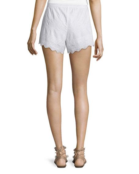 Farfett Drawstring-Waist Eyelet Shorts, White