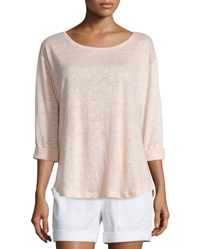 Rolled-Sleeve Draped Linen Tee