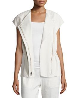 Cap-Sleeve Leather Zip Jacket