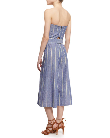 6bf0cd81b830 Alice + Olivia Lucie Strapless Striped Chambray Jumpsuit