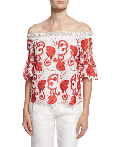 Karol Off-the-Shoulder Lace Top, Red