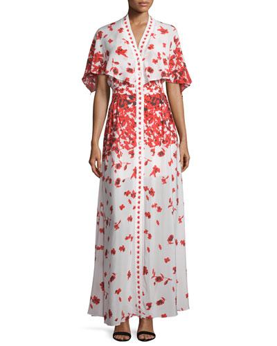 Jeannie Poppy-Print Cape Maxi Dress