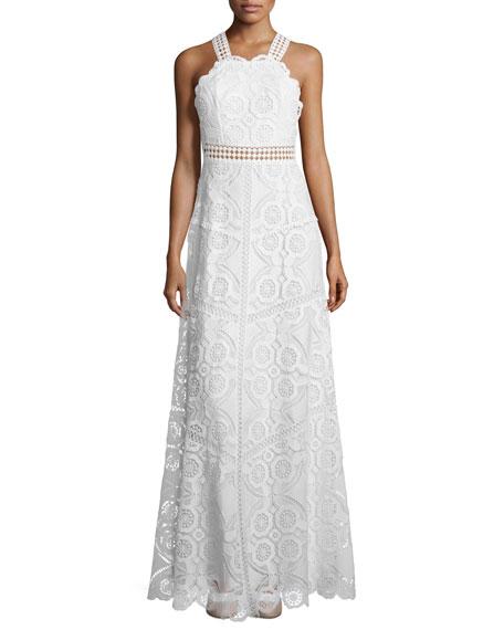 Eveline Sleeveless Lace Maxi Dress, White