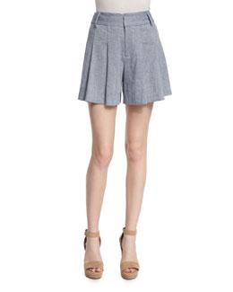 Scarlet High-Rise Chambray Flutter Shorts, Blue
