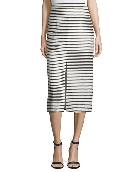 Sabrena Striped Midi Skirt, Black/White