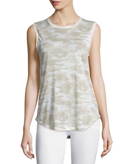 AG Ashton Jewel-Neck Linen Muscle Tee, Urbano Warp