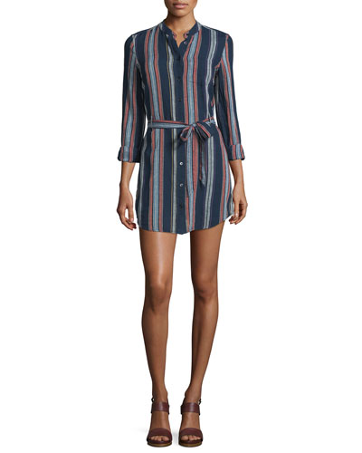 Jett Long-Sleeve Belted Shirtdress, Versi Linen Blue