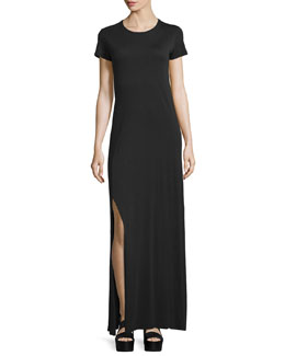 Lutz Short-Sleeve Cotton Maxi Dress, True Black