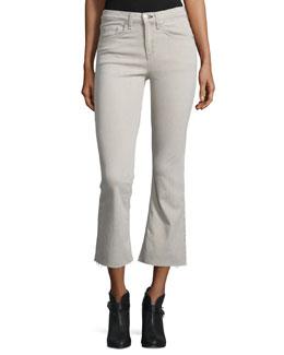 Flare-Leg Cropped Jeans, Beige
