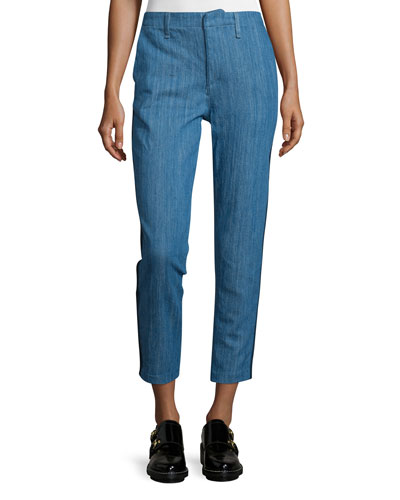 Slim-Leg Cropped Chino Pants, Denim
