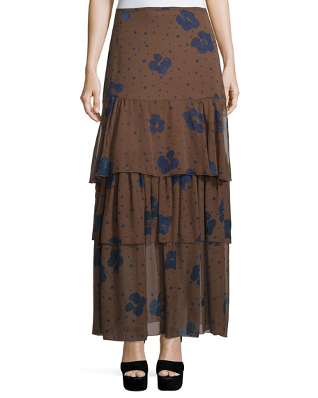 Floral Silk Tiered Maxi Skirt, Coffee