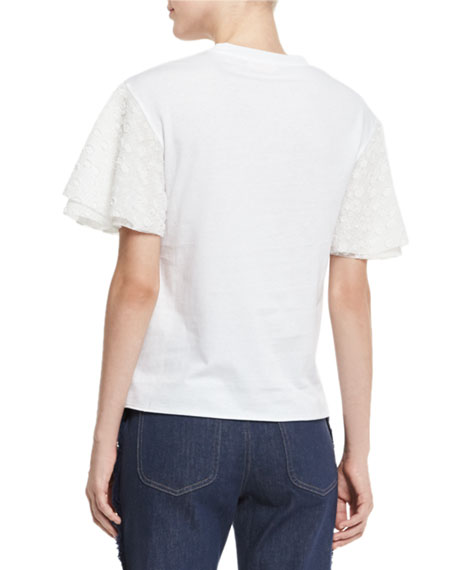 Boxy Cropped Jersey Tee with Embellished Sleeves, White