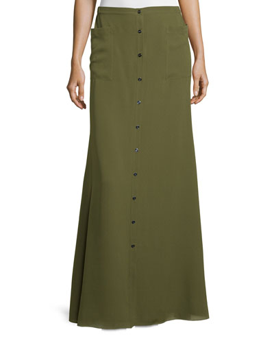 Silk Button-Front Maxi Skirt, Military