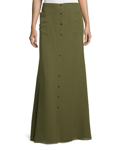 Silk Button-Front Maxi Skirt, Military