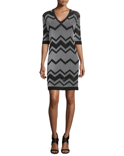 Bi-Color Zigzag Sheath Dress, Black