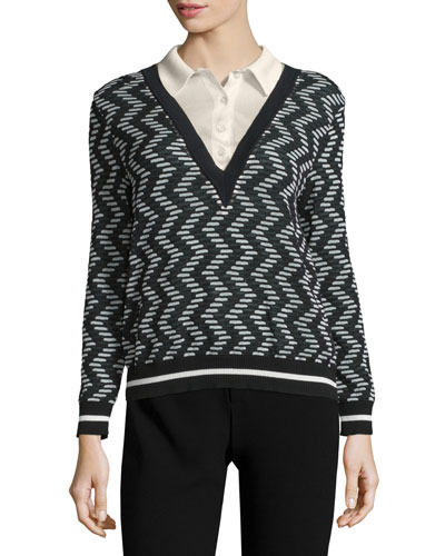 Rod Zigzag Long-Sleeve Sweater w/ Collar, Black