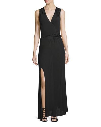 Sleeveless Twist-Front Maxi Dress, Black